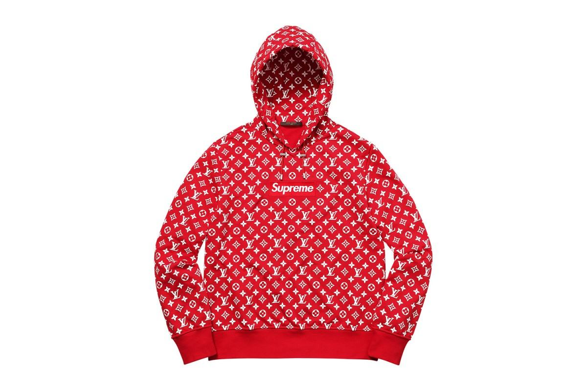 supreme, louis vuitton, streetwear collaborations, hoodie