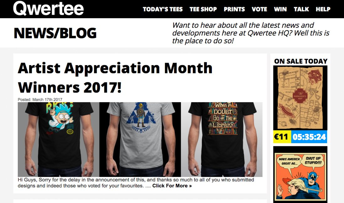 t-shirt blogs qwertee