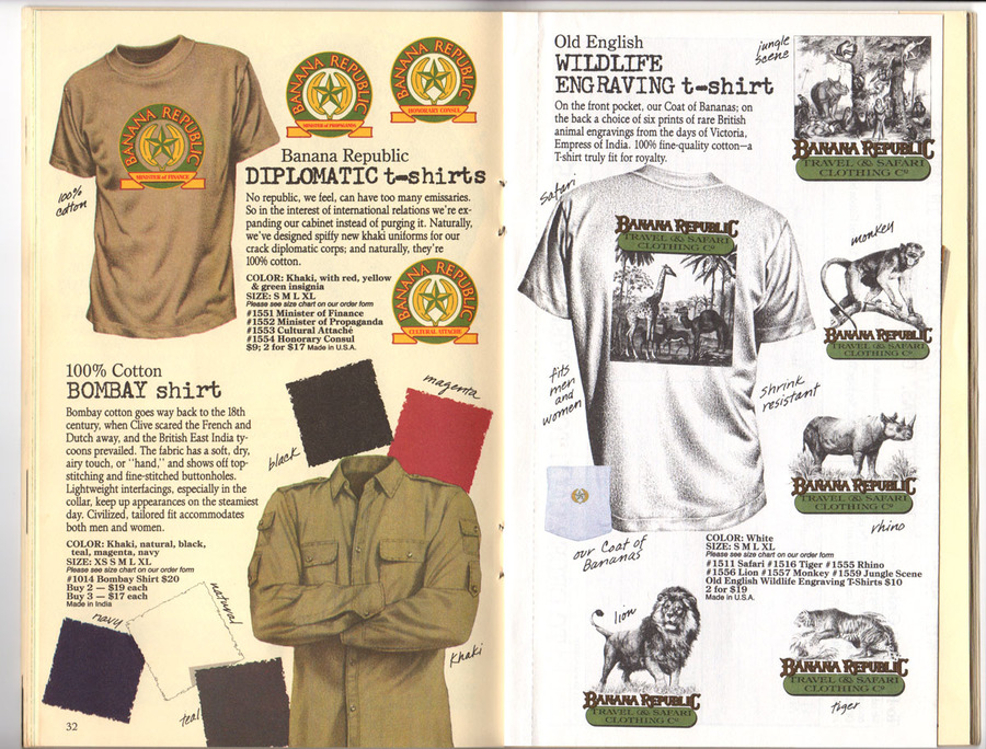 t-shirt catalogue, vintage catalogue, banana republic