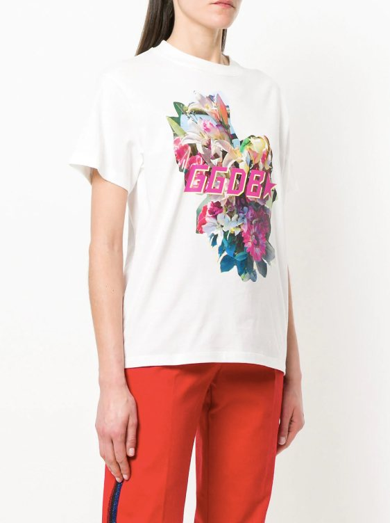 golden goose deluxe brand, t-shirt trends 2018, flowers