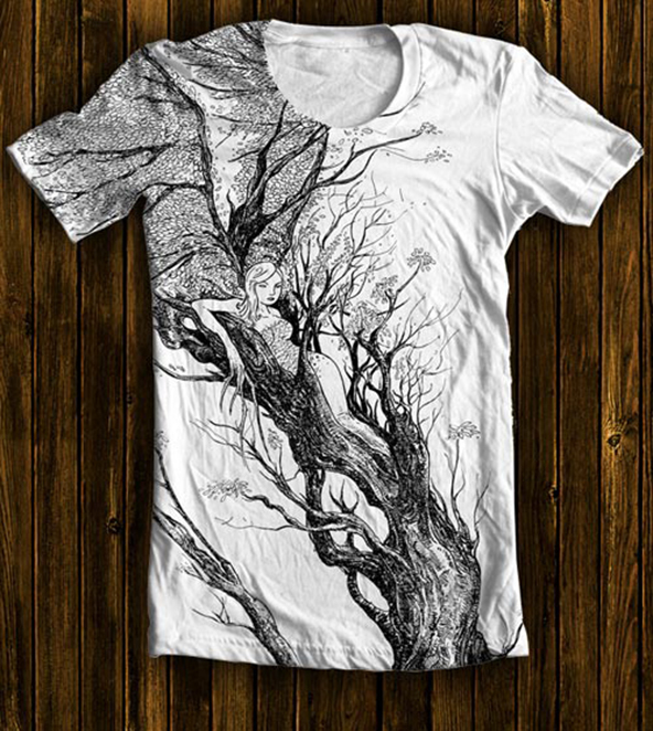 tree, woman, branches, t-shirt, autumn