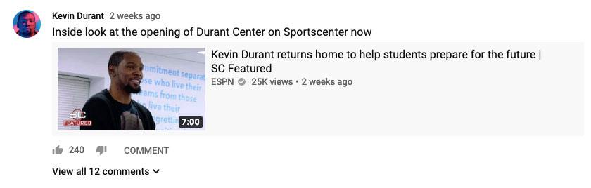 YouTube Community Posts - Kevin Durant